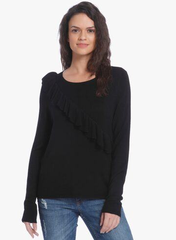 Black Solid Blouse ONLY Tops at myntra
