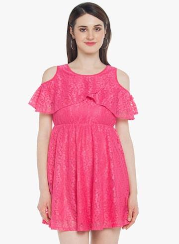 Pink Coloured Self Pattern Skater Dress Honey by Pantaloons Dresses at myntra