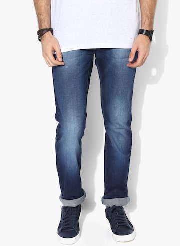 Blue Washed Low Rise Slim Fit Jeans (Vapour) Pepe Jeans Jeans at myntra