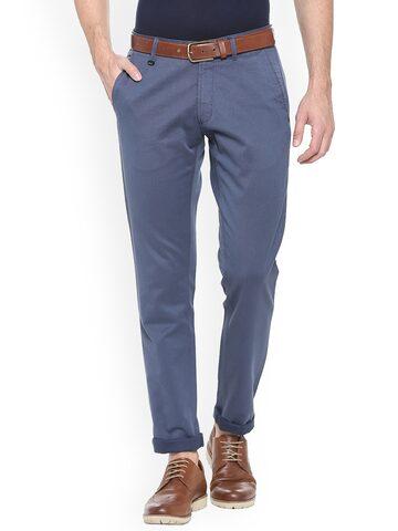 Van Heusen Sport Men Blue Slim Fit Solid Chinos Van Heusen Sport Trousers at myntra