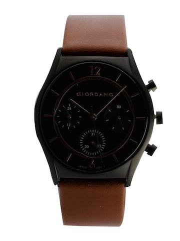 GIORDANO Men Black Analogue Leather Watch 1974-02-Black GIORDANO Watches at myntra