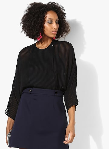 Black Striped Blouse MANGO Tops at myntra