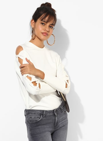 Off White Solid Sweatshirt MANGO Sweatshirts at myntra
