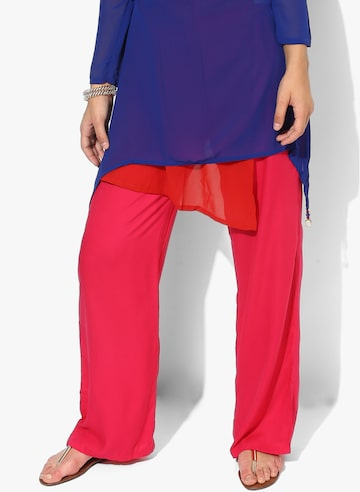 Pink Solid Regular Fit Coloured Pants Global Desi Trousers at myntra