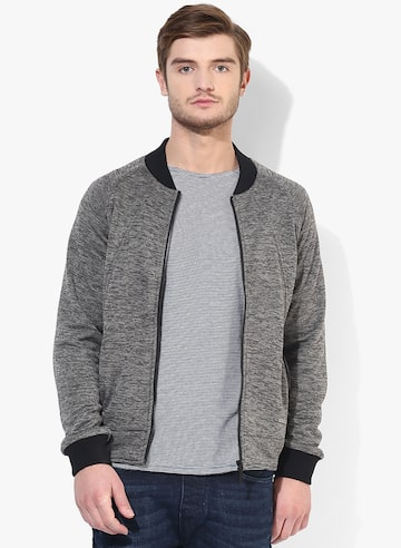 Grey Solid Sweat Jacket United Colors of Benetton Sweatshirts at myntra