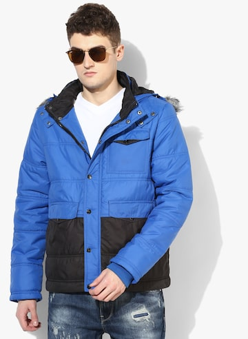 Blue Solid Bomber Jacket Voi Jeans Jackets at myntra