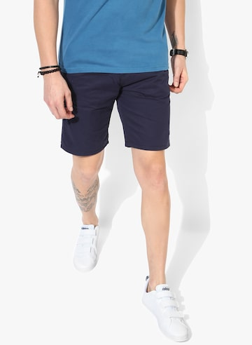 Navy Blue Solid Slim Fit Shorts Pepe Jeans Shorts at myntra