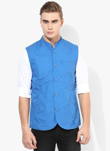 Blue Solid Waistcoat United Colors of Benetton Waistcoat at myntra