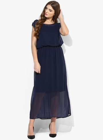 Navy Blue Coloured Solid Maxi Dress Deal Jeans Dresses at myntra