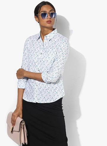 White Printed Shirt Style Quotient Shirts at myntra