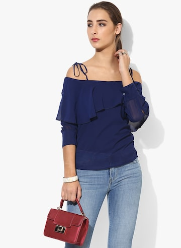 Navy Blue Solid Blouse Style Quotient Tops at myntra