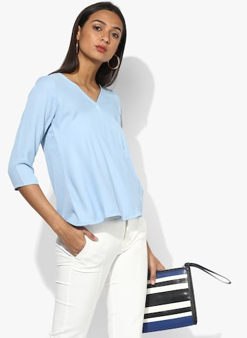 Light Blue Solid Blouse Style Quotient Tops at myntra
