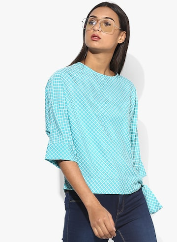Aqua Blue Checked Blouse Style Quotient Tops at myntra