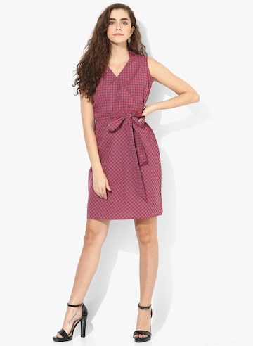 Red Coloured Checked Shift Dress Style Quotient Dresses at myntra
