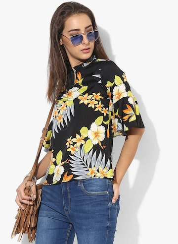 Black Printed Blouse Style Quotient Tops at myntra