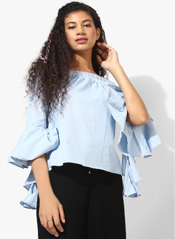 Blue Textured Blouse Style Quotient Tops at myntra