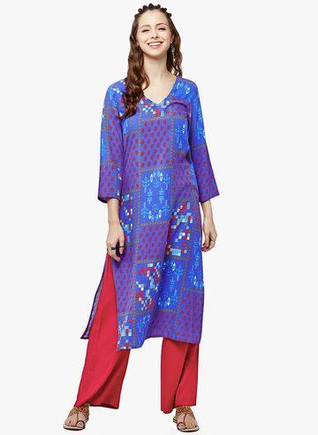 Blue Printed Silk Blend Kurta Global Desi Kurtas at myntra