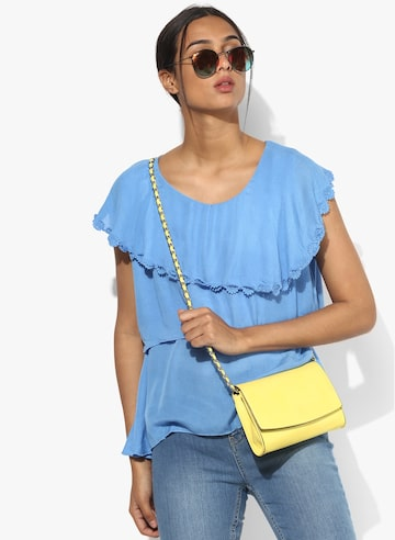 Blue Solid Blouse Style Quotient Tops at myntra