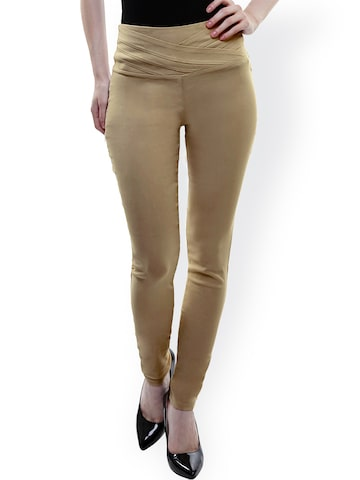 Miss Chase Beige Skinny Fit Trousers at myntra