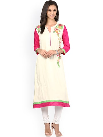 Prakhya White & Pink Embroidered A-line Kurta at myntra