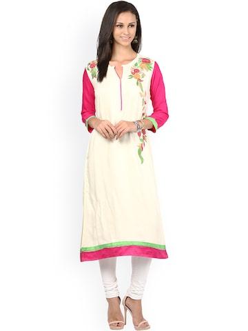 Prakhya White & Pink Embroidered A-line Kurta at myntra