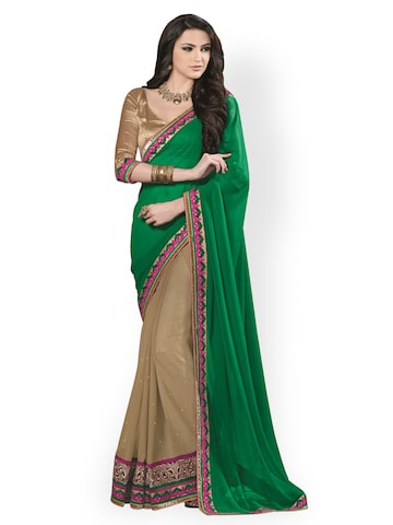Dlines Green & Beige Embroidered Georgette Fashion Saree available at Myntra for Rs.1984