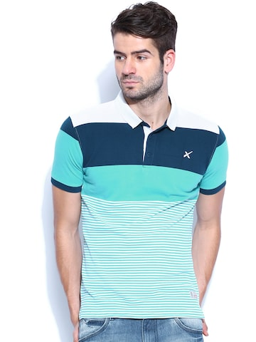 Buy hrx men teal blue white striped polo t shirt 2 for Mens teal polo shirt