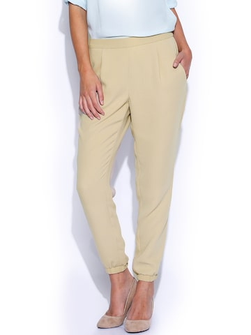 Vero Moda Beige Trousers at myntra