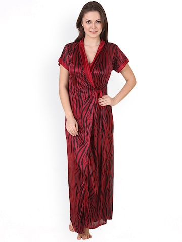 Masha Maroon Printed Nightdress with Robe HCBD2PC77-269 at myntra