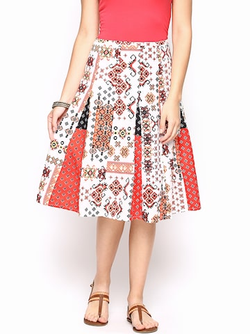 Rain & Rainbow Off-White & Red Printed Flared Skirt at myntra