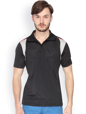 Campus Sutra Men Black & Grey Polo Jersey T-shirt
