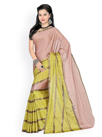 Ishin Peach-Coloured & Green Cotton Fashion Saree at myntra