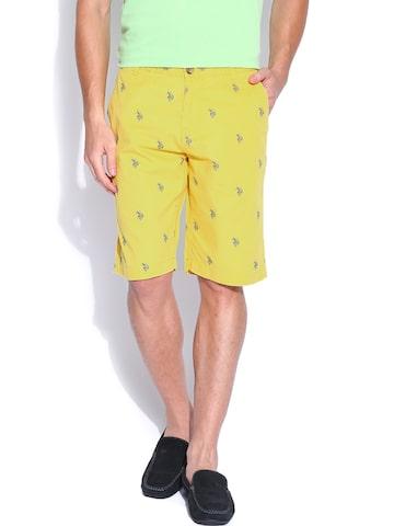 U.S. Polo Assn. Men Yellow Printed Shorts at myntra