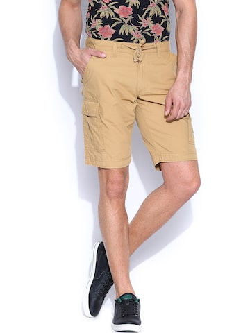 Flying Machine Men Khaki Shorts at myntra