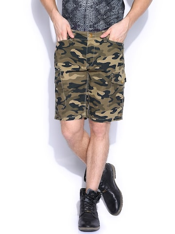 Flying Machine Men Brown Camo Printed Shorts at myntra