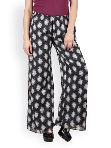 Citypret Women Black Printed Palazzo Trousers at myntra