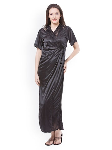 Fasense Women Black Nightdress with Robe DP113B2 at myntra