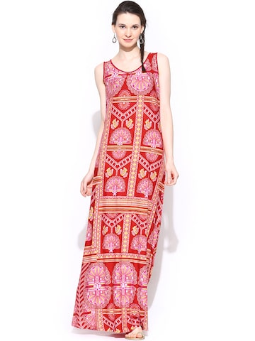 Global Desi Red Printed Maxi Dress at myntra