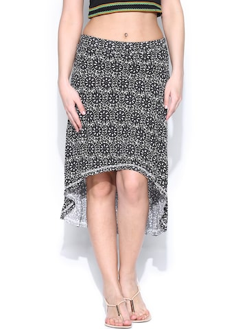 Global Desi Black & Off-White Printed High Low Skirt at myntra