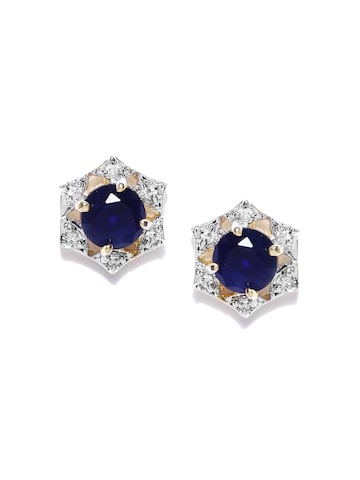 Zaveri Pearls Navy & Silver-Toned Stud Earrings at myntra