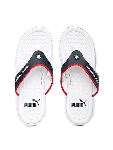 PUMA Men White & Navy BMW Motorsport Slip In Flip-Flops