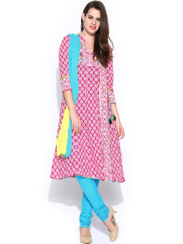 Rain & Rainbow Women Pink & Blue Printed Anarkali Churidar Kurta with Dupatta at myntra