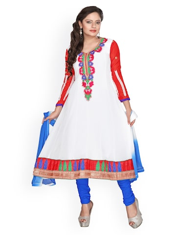 Florence White & Purple Georgette Semi-Stitched Anarkali Dress Material at myntra