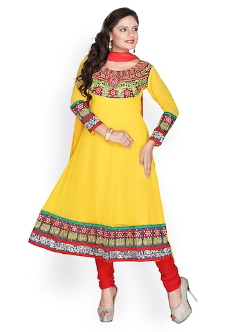 Florence Yellow & Red Georgette Semi-Stitched Dress Material at myntra