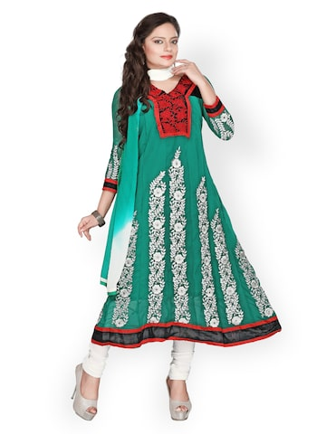 Florence Teal Green & White Georgette Semi-Stitched Dress Material at myntra