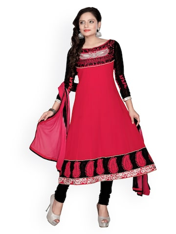 Florence Red & Black Georgette Anarkali Semi-Stitched Dress Material at myntra