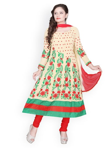 Florence Beige & Red Georgette Semi-Stitched Anarkali Dress Material at myntra