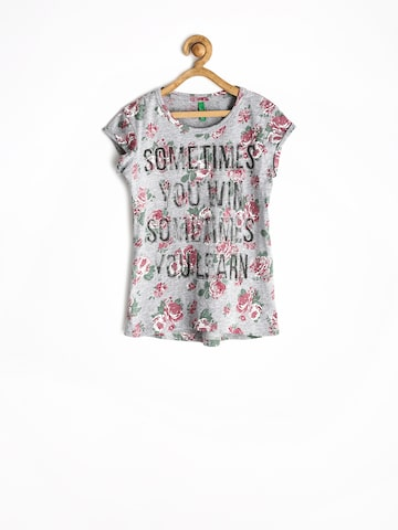 United Colors of Benetton Girls Grey Melange Printed Top at myntra
