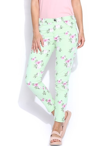 United Colors of Benetton Women Mint Green Floral Printed Slim Fit Jeggings at myntra