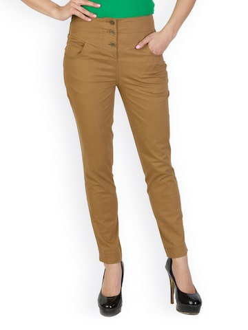 Rider Republic Women Brown Slim Fit Trousers at myntra